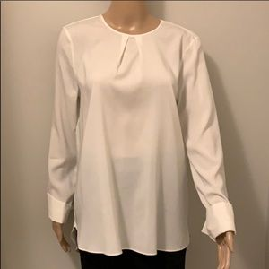 BRUNELLO CUCINELLI Ivory Pleated Blouse  Sz XL